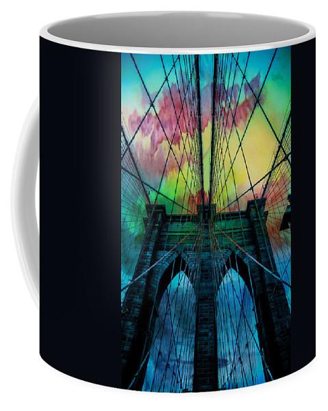 Brooklyn Bridge Coffee Mug featuring the digital art Psychedelic Skies by Az Jackson