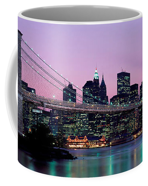 Photography Coffee Mug featuring the photograph Brooklyn Bridge New York Ny Usa by Panoramic Images