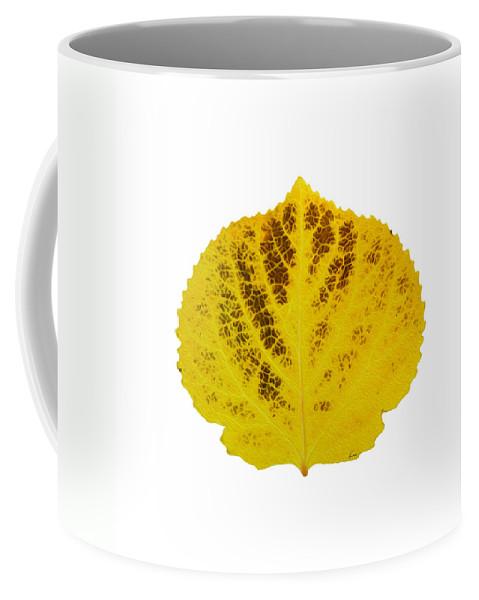 Aspen Leaf Coffee Mug featuring the digital art Brown And Yellow Aspen Leaf 3 by Agustin Goba