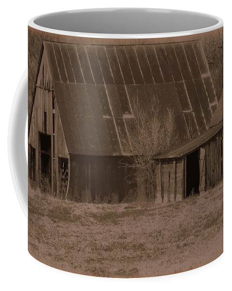 Brown Coffee Mug featuring the photograph Brown Barns by Lynn Sprowl
