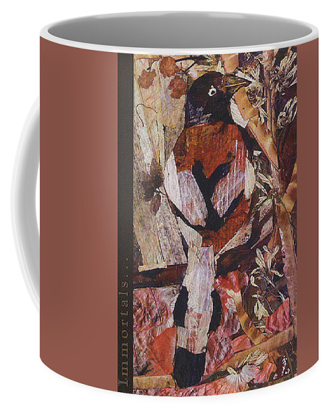 Brown-white-bird Coffee Mug featuring the mixed media Brown- White Bird by Basant Soni