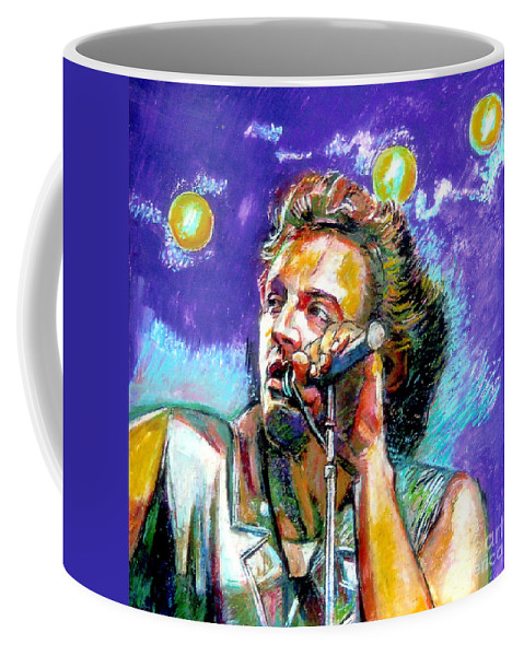 Bruce Sprinsteen Coffee Mug featuring the painting Bruce Springsteen by Stan Esson