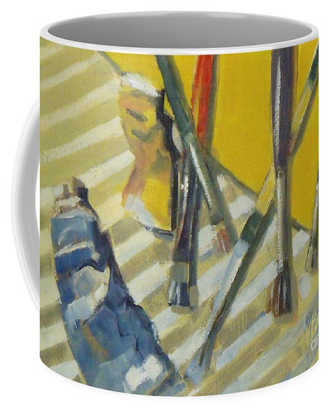 Doodlefly Coffee Mug featuring the painting Brushes And Paints For Artists Palette by Mary Hubley