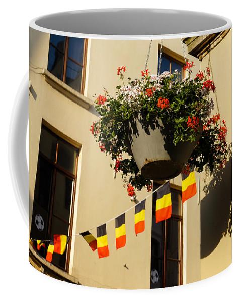 Brussels Coffee Mug featuring the photograph Brussels Belgium - Flowers Flags Football by Georgia Mizuleva