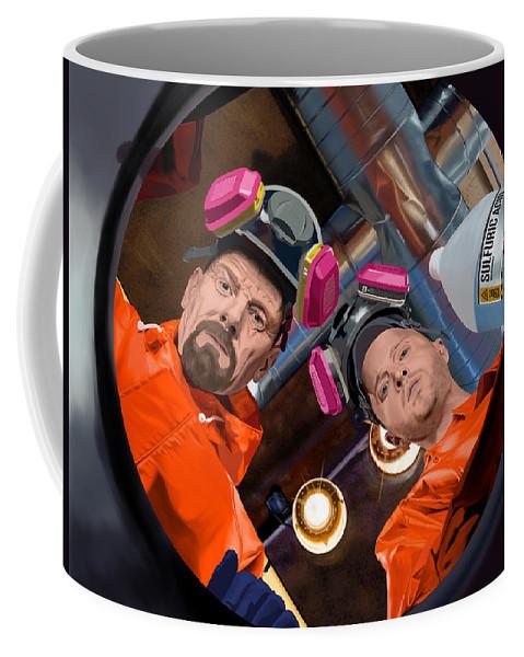 Aaron Paul Coffee Mug featuring the digital art Bryan Cranston as Walter White and Aaron Paul as Jesse Pinkman @ TV serie Breaking Bad by Gabriel T Toro