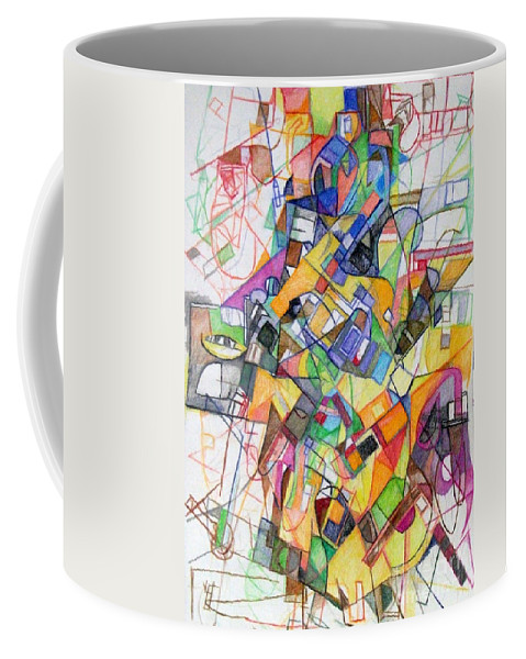 Torah Coffee Mug featuring the drawing bSeter Elyion 20 by David Baruch Wolk