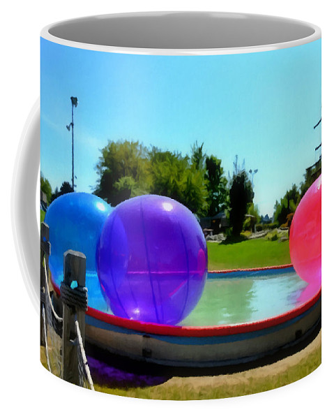 Bubble Ball Coffee Mug featuring the painting Bubble Ball 1 by Jeelan Clark