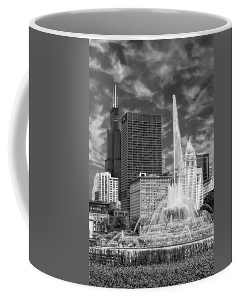 Buckingham Fountain Coffee Mug featuring the photograph Buckingham Fountain Sears Tower Black And White by Christopher Arndt