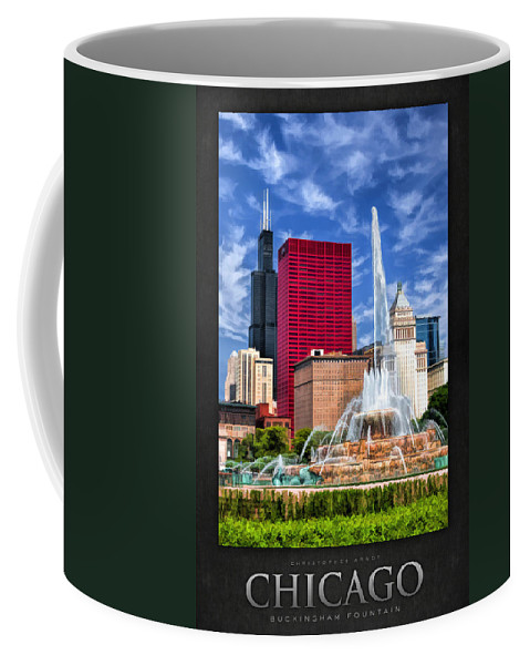 Buckingham Fountain Coffee Mug featuring the painting Buckingham Fountain Sears Tower Poster by Christopher Arndt