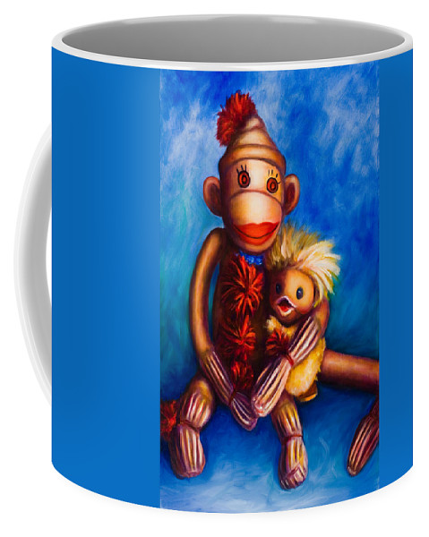 Sock Monkeys Brown Coffee Mug featuring the painting Buddies by Shannon Grissom