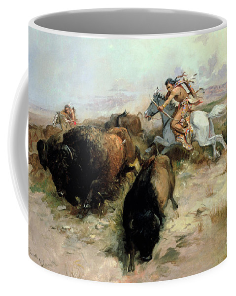 Buffalo Coffee Mug featuring the painting Buffalo Hunt by Charles Marion Russell