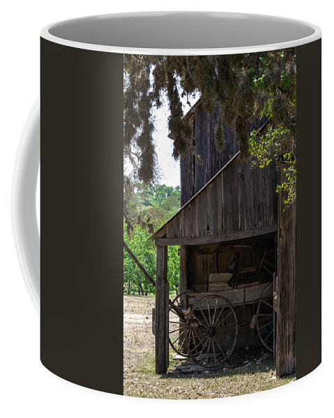 Barn Coffee Mug featuring the photograph Buggy In The Barn by Ed Gleichman