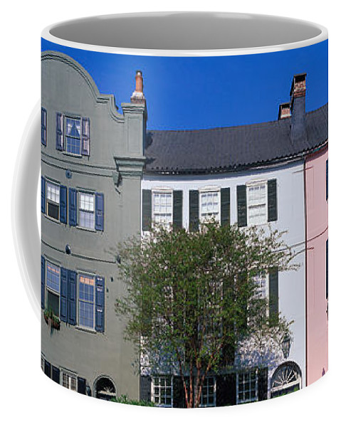 Photography Coffee Mug featuring the photograph Buildings In A City, Rainbow Row by Panoramic Images