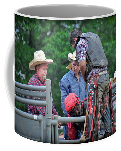 Competition Coffee Mug featuring the photograph Bull Ride Ready by Gary Keesler