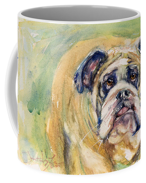 Dog Coffee Mug featuring the painting Bulldog by Judith Levins