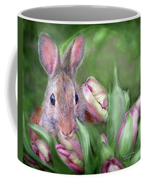 Bunny Coffee Mug featuring the mixed media Bunny In The Tulips by Carol Cavalaris