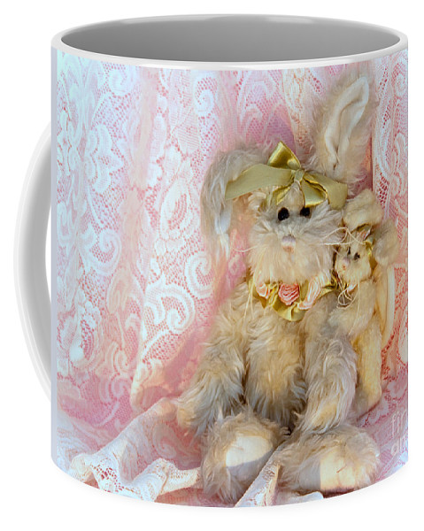 Kids Coffee Mug featuring the photograph Bunny Lace by Robin Lynne Schwind