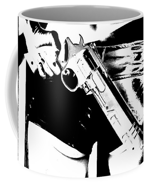 Gun Pistol Revolver Weapon Bum Butt Booty Shorts Leather Sexy Babe Ass Black & White Coffee Mug featuring the photograph Bunslinger by Guy Pettingell