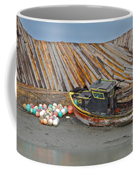 Boat Coffee Mug featuring the photograph Buoy Spill by Rick Monyahan