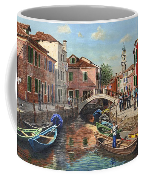 Landscape Coffee Mug featuring the painting Burano Canal Venice by Richard Harpum