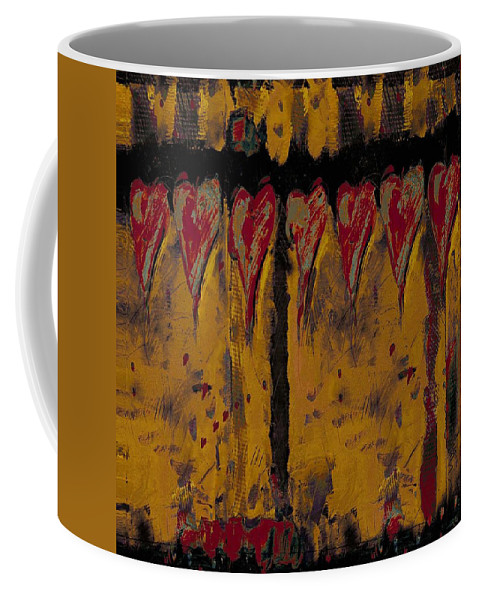 Abstract Coffee Mug featuring the painting Burgandy Hearts On Gold by Dale Moses