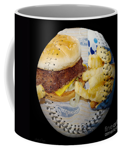 Baseball Coffee Mug featuring the photograph Burger And Fries Baseball Square by Andee Design
