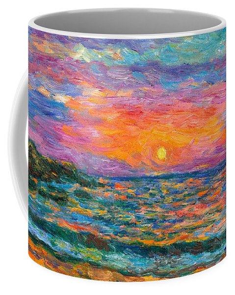Ocean Coffee Mug featuring the painting Burning Shore by Kendall Kessler