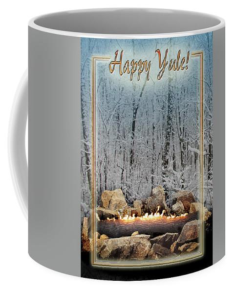 Yule Coffee Mug featuring the digital art Burning Yule Log by Melissa A Benson