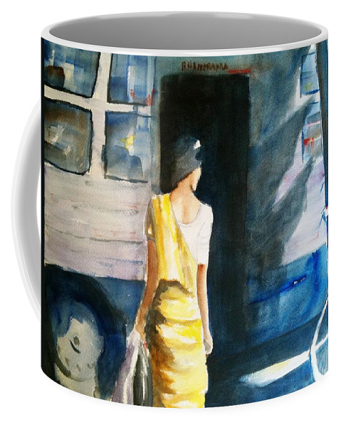 Woman Coffee Mug featuring the painting Bus Stop - Woman Boarding The Bus by Carlin Blahnik CarlinArtWatercolor