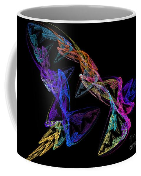 Digital Coffee Mug featuring the digital art Butterfly Dance by Yvonne Johnstone