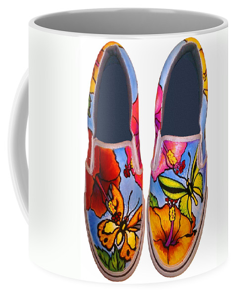 Butterfly Coffee Mug featuring the painting Butterfly Hibiscus Custom Painted Shoes by Adam Johnson