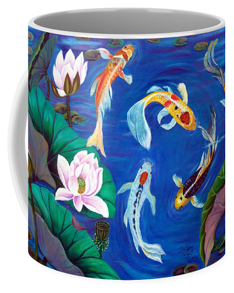 Buterfly Koi Coffee Mug featuring the painting Butterfly Koi by To-Tam Gerwe