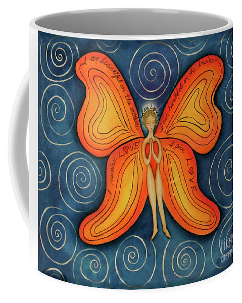 Butterfly Canvas Prints Coffee Mug featuring the painting Butterfly Mantra by Deborha Kerr