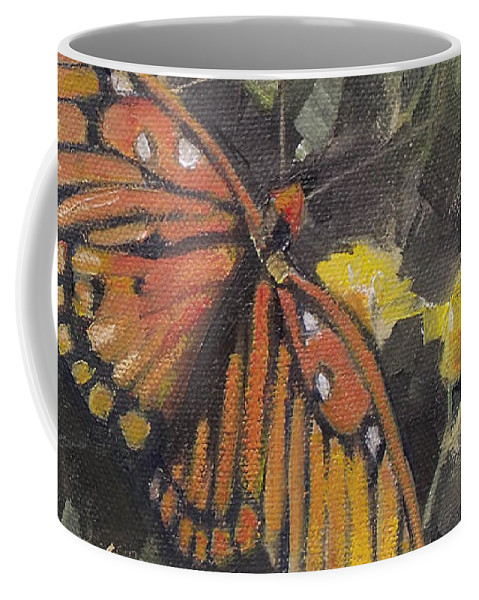 Doodlefly Coffee Mug featuring the painting Butterfly Meadow With Yellow Flowers by Mary Hubley
