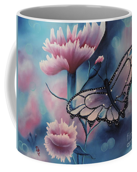 Pinks Coffee Mug featuring the painting Butterfly Series 6 by Dianna Lewis