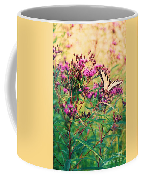 Floral Coffee Mug featuring the painting Butterfly Wildflower by Eric Schiabor