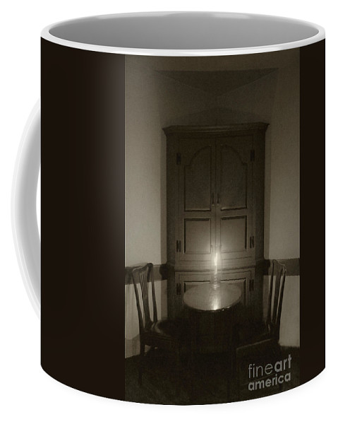 Table; Chairs; Corner; Hutch; Dark; Darkness; Candle; Candlelight; Romantic; Rustic; Seat; Restaurant; Dining Room; Interior; Room; Still Life; Inside; Indoors; Round; Small; Quaint Coffee Mug featuring the photograph By Candlelight by Margie Hurwich