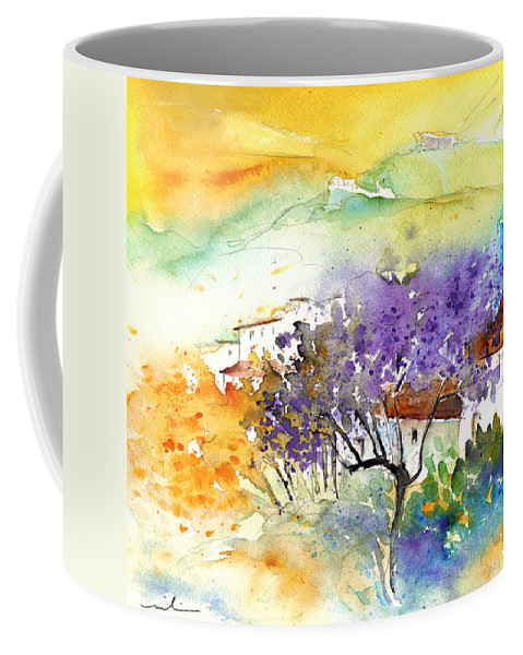 Watercolour Coffee Mug featuring the painting By Teruel Spain 01 by Miki De Goodaboom