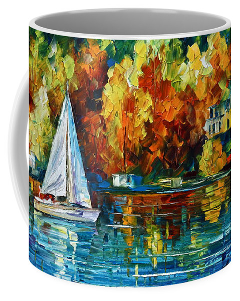 Boat Coffee Mug featuring the painting By The Rivershore by Leonid Afremov
