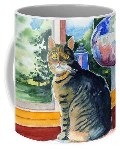 Hazel Coffee Mug featuring the painting By The Window by Katherine Miller