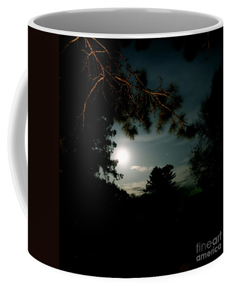 Up North Coffee Mug featuring the photograph Cabin Moon by Jacqueline Athmann