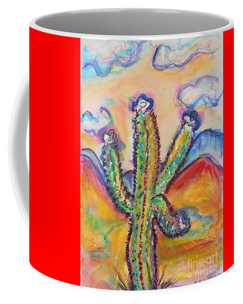 Cactus Coffee Mug featuring the painting Cactus And Clouds by M c Sturman