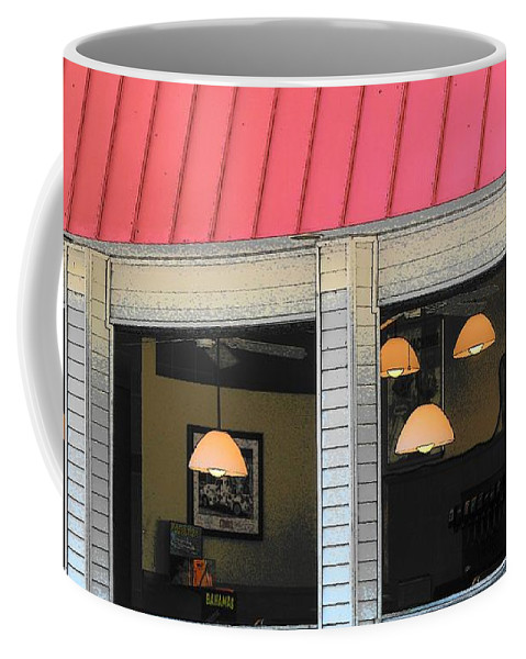 Architecture Coffee Mug featuring the photograph Cafe Seaside by Strangefire Art    Scylla Liscombe