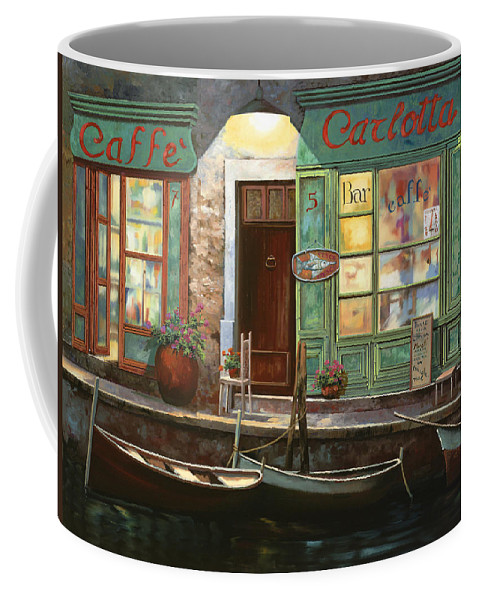 Venice Coffee Mug featuring the painting caffe Carlotta by Guido Borelli