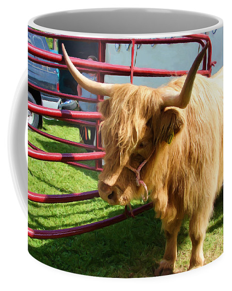 Highland Cattle Coffee Mug featuring the digital art Caged Coo by Gary Olsen-Hasek