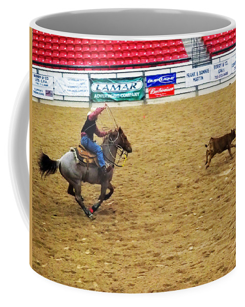 Cowboy Coffee Mug featuring the photograph Calf Roping by C H Apperson