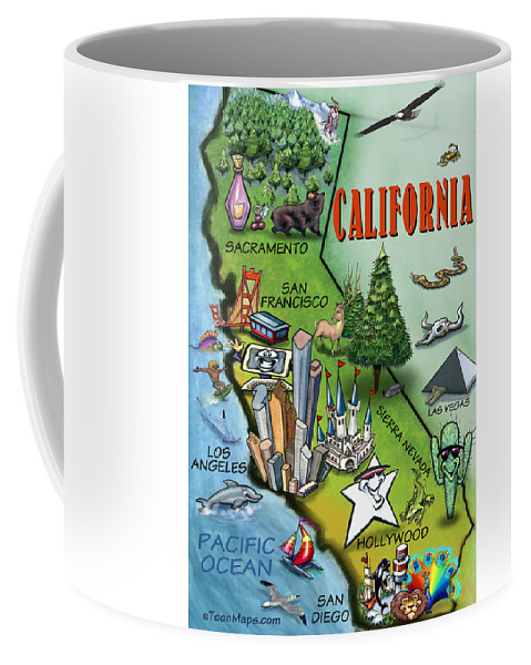 California Map Cartoon.California Cartoon Map Coffee Mug For Sale By Kevin Middleton
