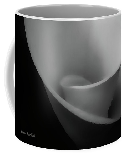 Calla Lily Coffee Mug featuring the photograph Calla Slide Bw by Donna Blackhall