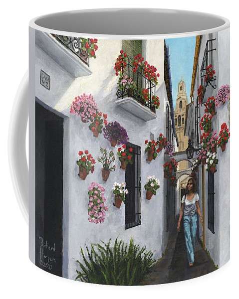 Landscape Coffee Mug featuring the painting Calleje De Las Flores Cordoba Spain by Richard Harpum