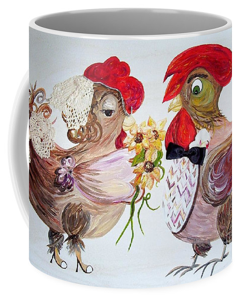 Rooster Coffee Mug featuring the painting Calling All Chicken Lovers Say I Do by Eloise Schneider